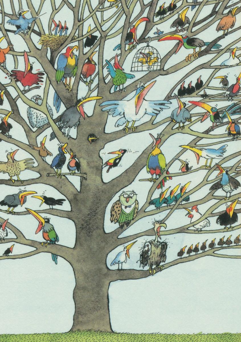 Die Vogelschar (Postkarte)